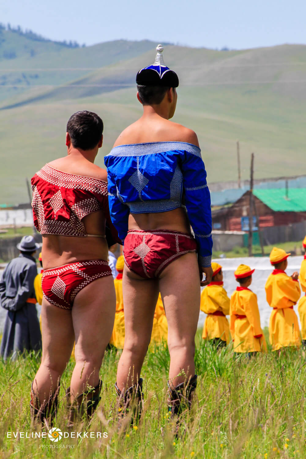 Wrestlers at Opening ceremony Naadam Festival