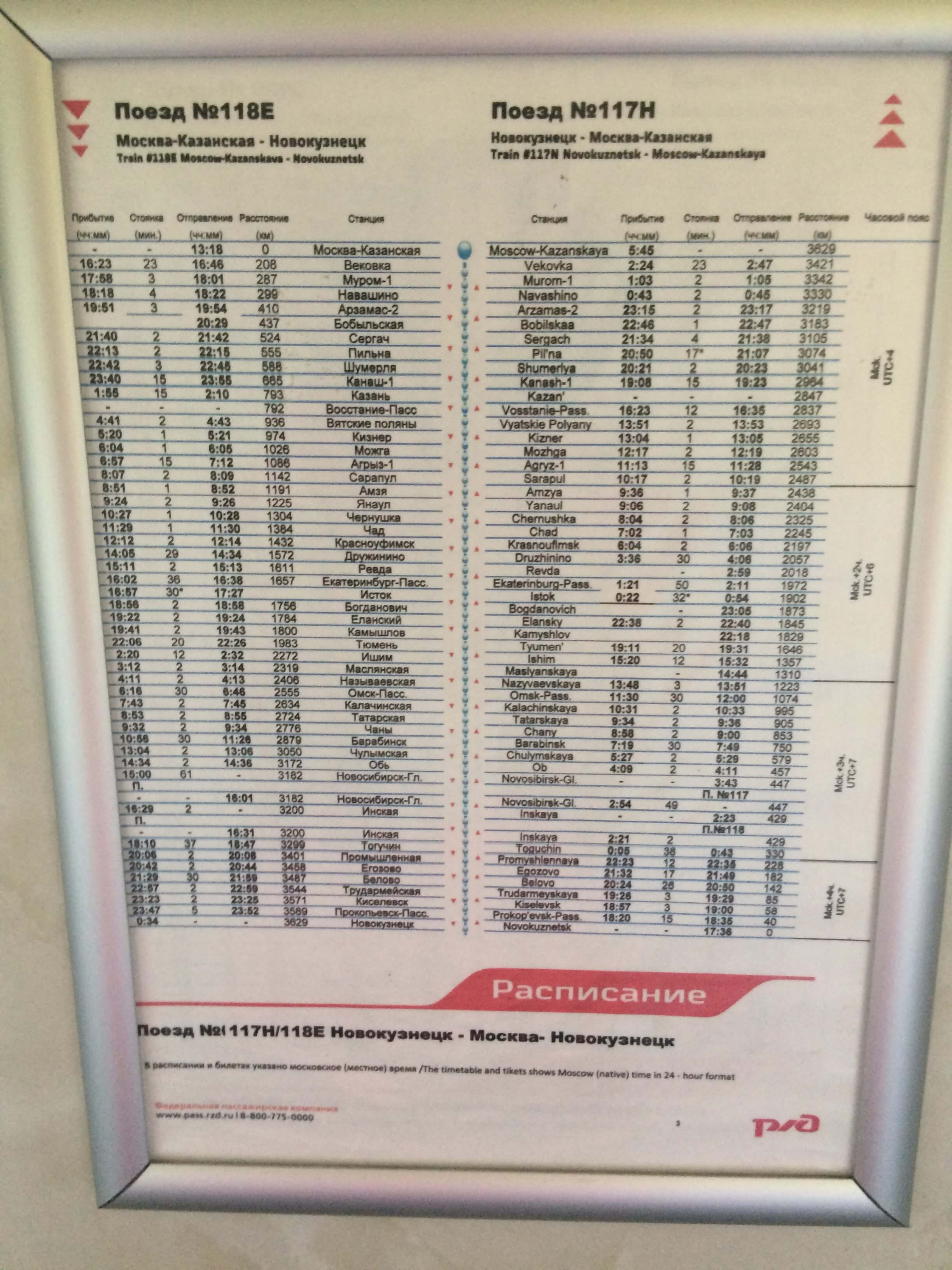 Example of the train schedule