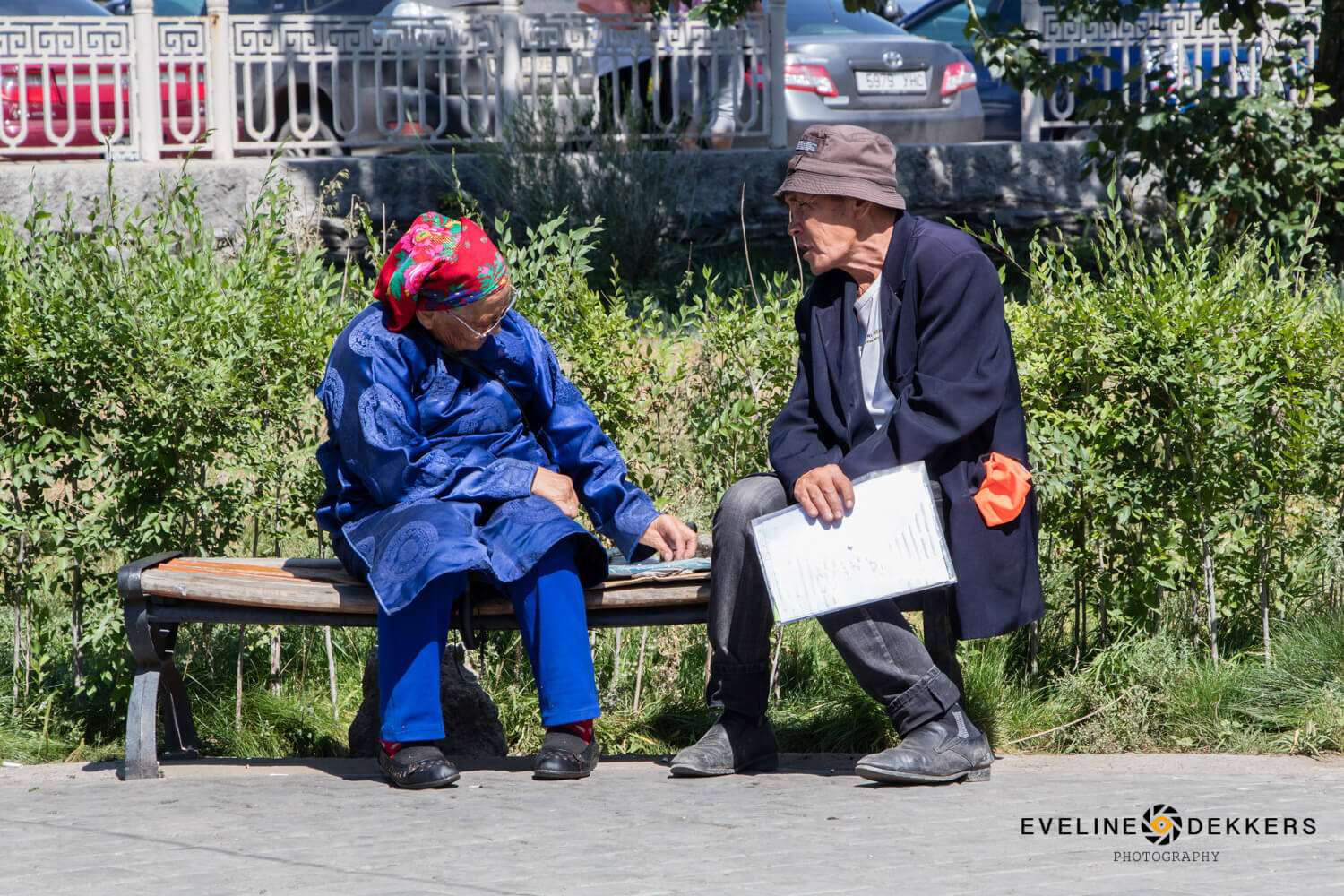 Elderly at Ulaanbaatar bench
