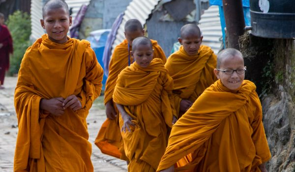 Buddhist Students On Their Way To School – Nepal